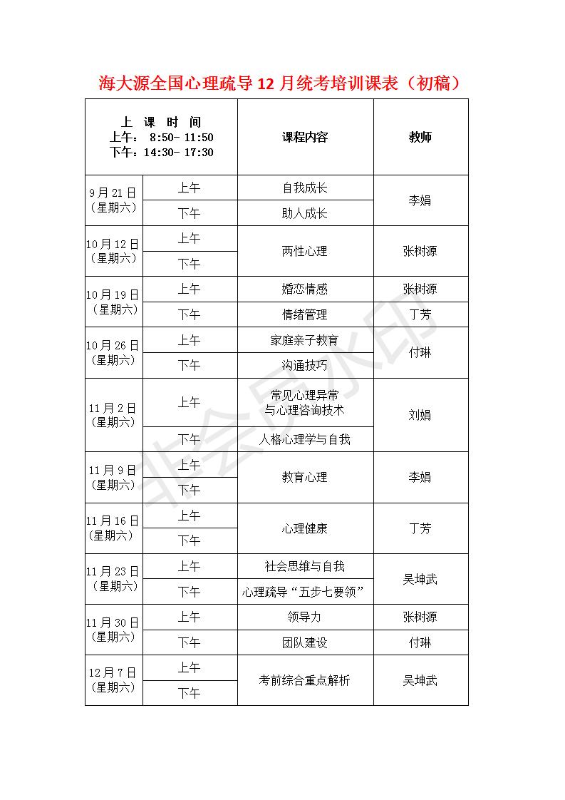 海南心理疏導培訓課表